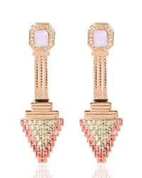 Mawi | Pink Deco Glam Triangle Earrings | Lyst