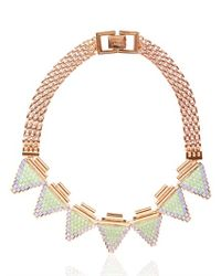 Mawi Pink Deco Glam Triangle Necklace