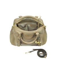 Michael Kors Brown Bedford Genuine Leather Bowling Satchel Bag