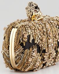 Alexander McQueen Metallic Crystalembroidered Punk Skull Clutch Bag Gold