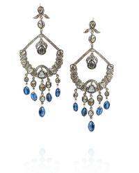 Artisan - Blue Sterling Silver Diamond and Sapphire Chandelier Earrings - Lyst