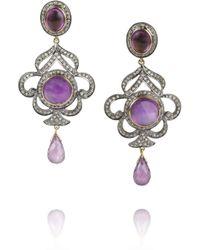 Artisan - Purple Sterling Silver Amethyst and Diamond Earrings - Lyst