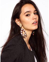 ASOS - Natural Cameo Chandelier Earring - Lyst