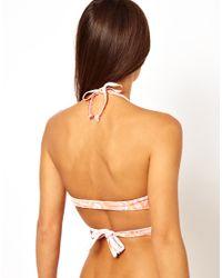 ASOS | Pink Neon Snake Print Wrap Around Triangle Bikini Top | Lyst