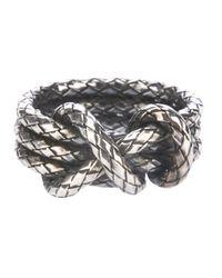Bottega Veneta | Metallic Woven Knot Ring | Lyst