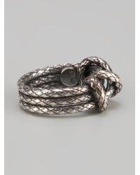 Bottega Veneta - Metallic Woven Knot Ring - Lyst