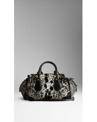 Burberry - Black Animal Print Calfskin Tote Bag - Lyst