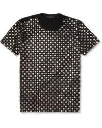 Burberry Prorsum Black Studded Cotton Tshirt for men
