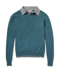 Canali - Blue Longsleeved Wool Polo Shirt for Men - Lyst