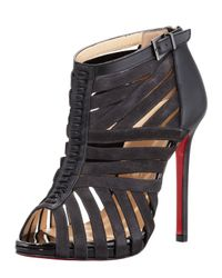 Christian Louboutin Karina Caged Redsole Ankle Bootie Black