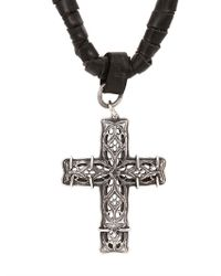 Emanuele Bicocchi - Metallic Chunky Cross Woven Leather Necklace for Men - Lyst