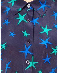 Equipment Blue Diem Tie Front Shirt in Star Print