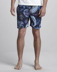 Etro | Paisley Swim Trunks Blue for Men | Lyst