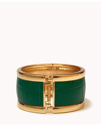 Forever 21 - Green Faux Croco Hinge Bracelet - Lyst