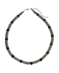John Lewis | Metallic Rhodium Plated Beads Glass Necklace | Lyst