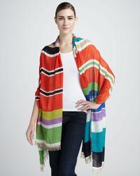 Kate Spade Multicolor Picnic Striped Silk Scarf