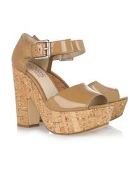 Kors by Michael Kors | Brown Korey Patent-lLeather And Cork Sandals | Lyst