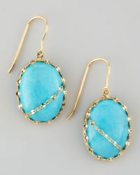 Lana Jewelry Blue Turquoise Chain-Detail Drop Earrings