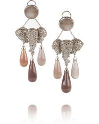 Lydia Courteille - Brown Mhadaratha 18karat Gold Diamond and Moonstone Earrings - Lyst