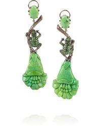 Lydia Courteille - Green Amazonia 18karat Blackened White Gold Multistone Earrings - Lyst