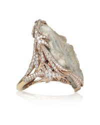 Lydia Courteille - Green Galaxy 18karat Rose Gold Diamond and Crystallized Agate Ring - Lyst