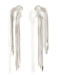 Lynn Ban - Metallic Sterling Silver Snake Chain Earrings - Lyst
