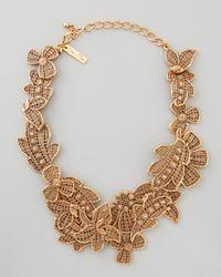 Oscar de la Renta Metallic Antiqued Lace Bib Necklace