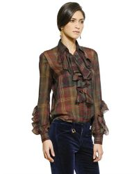 Ralph Lauren Blue Label Purple Ruffled Silk Georgette Plaid Shirt