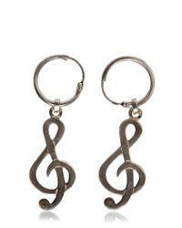 Saint Laurent - Metallic Treble Clef Drop Earrings - Lyst