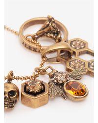 Alexander McQueen | Metallic Skull And Bee Charms Pendant | Lyst