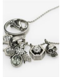 Alexander McQueen | Metallic Skull And Bee Charms Pendant | Lyst