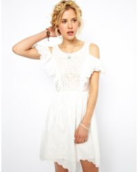 ASOS White Summer Dress with Brodeire Panel and Off Shoulder