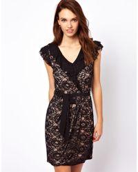 A Wear Black Lace Wrap Dress