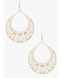 Bebe Metallic Art Deco Drop Hoop Earring