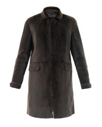 Burberry Prorsum | Green Shaved Shearling Coat | Lyst