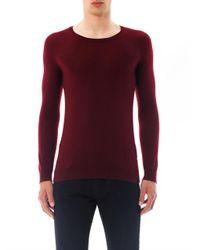 Burberry Prorsum - Red Cashmere Crewneck Sweater - Lyst