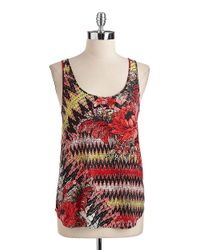 French Connection | Red Floral Print Zigzag Tank Top | Lyst