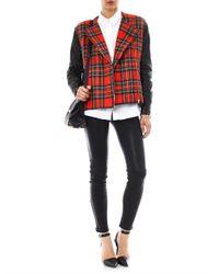Preen By Thornton Bregazzi - Red Bo Leather and Tartan Biker Jacket for Men - Lyst