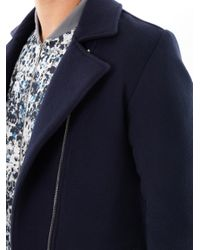 Richard Nicoll | Blue Wool Melton Biker Jacket for Men | Lyst