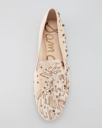 Sam Edelman Natural Avalon Studded Embroidered Suede Slipper