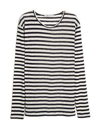 T By Alexander Wang Blue Linen Stripe Long Sleeve Tee