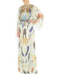 Temperley London Green Feather print Hammered silk Satin Gown