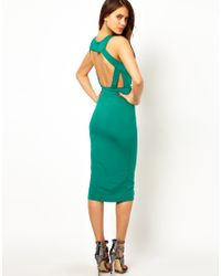 Tfnc London Midi Dress With Plunge Neck And Open Back In