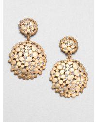 ABS By Allen Schwartz | Metallic Pavé Double Drop Earrings | Lyst