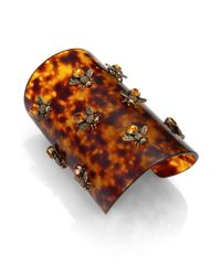 Alexander McQueen - Brown Tortoiselook Bee Bracelet - Lyst