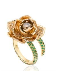 Ana De Costa | White Rose Gold Lotus Ring | Lyst