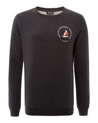 A.P.C. Black Charcoal Yacht Club Cotton Sweatshirt for men
