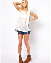 ASOS | White Trapeze Top in Woven Mix with Laser Cut | Lyst
