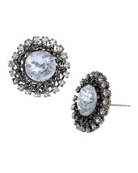 Betsey Johnson - Blue Crystal Burst Stud Earrings - Lyst