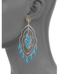 John Hardy - Blue Sterling Silver 18k Gold Turquoise Chandelier Earrings - Lyst